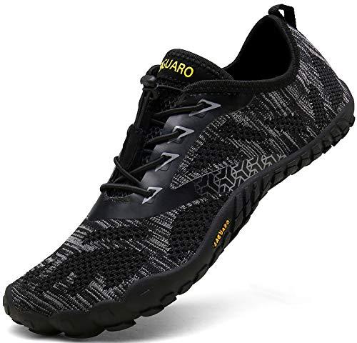 SAGUARO Barfußschuhe Herren Trail Laufschuhe Damen Indoor Outdoor Sport Fitnessschuhe Leicht Zehen Wander Trekking Schuhe für Frauen Männer Schwarz Gr.42