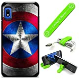 Hybrid Rugged Hard Cover Case Compatible with Galaxy [A10E] - Captain America Metalshield V (with Free Phone Stand Gift!)
