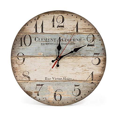 Reloj de Pared de Madera, Redondo Reloj de Pared de Estilo Vintage de Cuarzo Silencioso, Nostálgico Moderno Reloj de Pared Decoración del Dormitorio la Oficina en Casa
