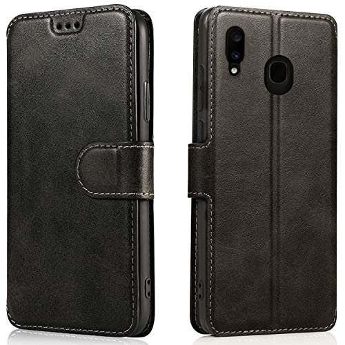LeYi Cover Samsung Galaxy A20e con HD Pellicola Protettiva,Custodia Flip Libro Silicone TPU Bumper Portafoglio Fondina Morbida Scocca Antiurto Case per Telefono A20e,Nero