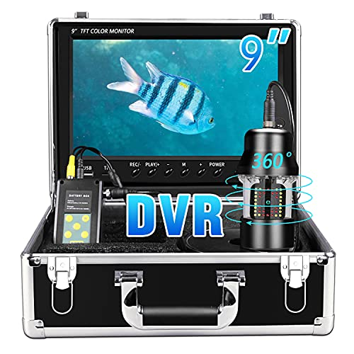 Underwater Fishing Camera, 360° Rotating IP68 Waterproof Ice Video Fishing Camera with 9inch 1080P HD Monitor and DVR Recoder 38PCS Adjustable LEDs Fish Finder for Ice,Lake and Boat