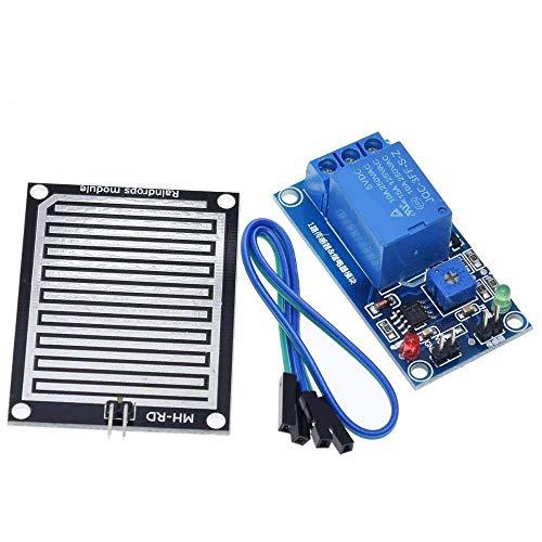 CLJ-LJ Regenwasser-Sensor-Modul + DC 12 V Relaissteuermodul Regensensor Wasser Regentropfen Detektionsmodul für...