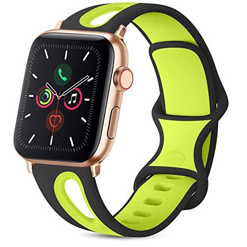 Meliya Poroso Cinturino per Apple Watch 38mm 40mm 42mm 44mm, Cinturini Sportiva in Silicone Morbido e Traspirante per Apple Watch Serie 5 4 3 2 1, Cinturino per Donna/Uomo