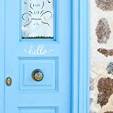 White Hello Front Door Vinyl Decal Script Handwriting Wall Art Decor Sticker Lettering Removable - Charlie Script