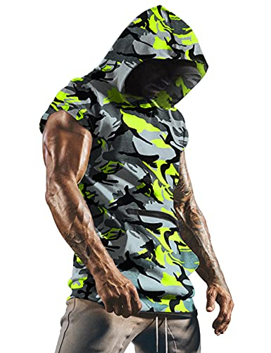 poriff Mens Workout Tank Tops with Hood Sleeveless Muscle Cut Off Shirt Camo