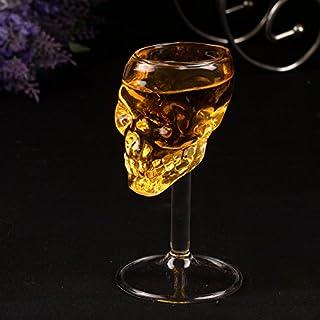 頭蓋骨ワイングラス、4pcs 4本75ミリリットル頭蓋骨ショットグラススカルガラスクリスタルスカルヘッドワイングラスカップマグホーム/バー/パーティー