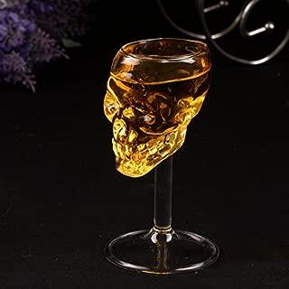頭蓋骨ワイングラス、1pcs 1ピース75ミリリットル頭蓋骨ショットグラススカルガラスクリスタルスカルヘッドワイングラスカップマグ用ホーム/バー/パーティー