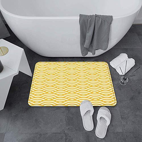Alfombras de baño Super Soft Floor, amarillo y blanco, Horizontal Abstracto Ocean Ocean Ocean Ocean Beach Costa de la playa, Agua Absorbent Bath Mat Dormitorio antideslizante, Alfombra Adecuada para B