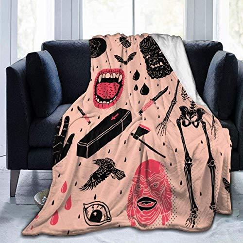 Manta para niños, para niños, para sofá de Cama, Felpa Adecuada para otoño Invierno y Verano (50 x 60 Pulgadas) Whole Lotta Horror-Black-50x60 Pulgadas