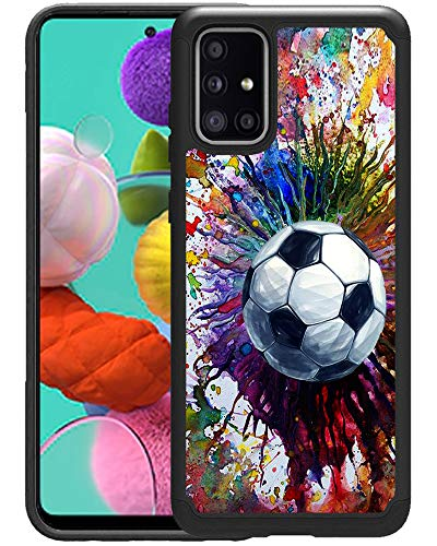 OptiCase Samsung Galaxy A51 5G Case [Not for 4G Version] - Vintage Soccer Splatter Printed Designer Hybrid Case - Unique Heavy Duty Protection & Shockproof Galaxy A51 5G Back Case Cover[Not for 4G]
