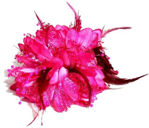 Anstecksträußchen, Fuchsienrosa, mit Blüten und Federn, handgefertigt