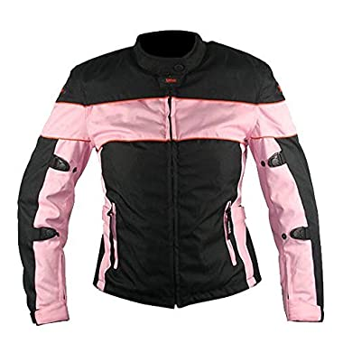 Xelement CF462 Womens Black/Pink Tri-Tex Fabric Motorcycle Jacket with Advanced - Medium