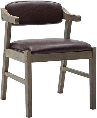 ソリッドウッドダイニングチェア アームチェア 肘掛けと背もたれ付き 太いパッド入りシート テーブルと椅子の座席としてのレトロなデザイン- 褐色フェイクレザー