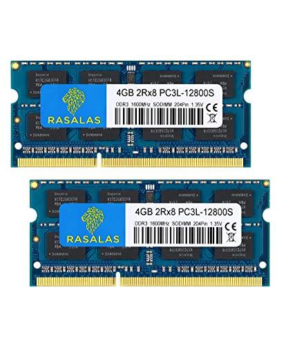Rasalas PC3L-12800 Sodimm 8GB Kit (2x4GB) DDR3L 1600MHz Non ECC Unbuffered 1.35V CL11 2Rx8 Dual Rank 204 Pin Laptop Notebook Computer Memory Ram Module Upgrade