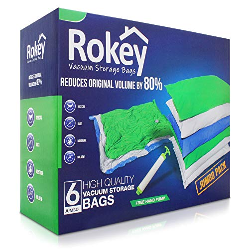 ROKEY Vacuum Storage Bags JUMBO LARGE (6 Pack 110 x 80 cm) Reusable Box. 80% More Storage Space. Double Zip Seal, Leak Free Valve and Extra Durable Plastic, FREE Travel Hand Pump Included.