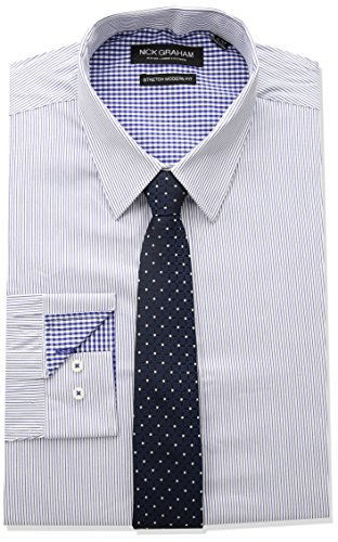 Nick Graham Men's Modern Fitted Pencil Strip Stretch Shirt with Micro Neat tie, Navy, 16-16.5' Neck / 34-35' Sleeve