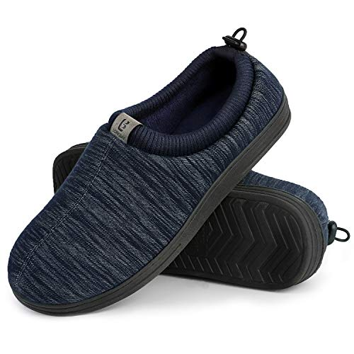 Longbay Men's Cozy Knitted Memory Foam Slippers with Adjustable Elasticated Collar Comfy House Shoes for Indoor Outdoor (X-Large / 13-14, Navy Blue)