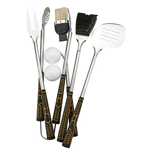 Trendyshop365 Grillzubehör Set 7-teilig BBQ Grillbesteck Golf Caddy Design