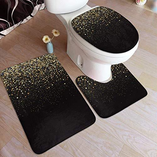 Badmattor Gold Glitter Black Cool Modern Bathroom Antiskid Pad Set 3 Piece Mat Rugs Antiskid Pad+ Contour Mat + Toilet Lid Cover