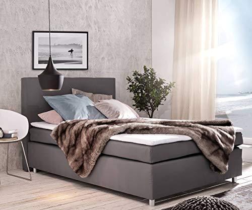 DELIFE Bett Paradizo Grau 140x200 cm Matratze und Topper Federkern Boxspringbett