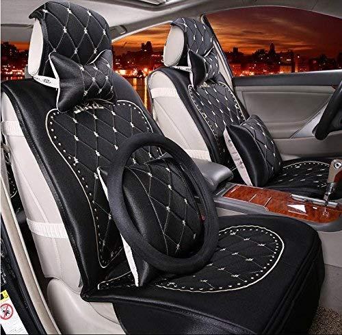 KBZW Auto Stoelhoezen Set, Universele Auto Stoel Kussen voor Vrouwen Europese Stijl Hoge Kwaliteit Goud Fluweel Geborduurd Kussen Vier Zwart