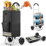 wilbest® Shopping Trolley, 2 in 1 Lightweight Folding Shopping Cart with Waterproof Black Large Capacity Shopping Bag, Hard Wearing Foldable Hand Truck with Adjustable Bungee Cord - 2 Noiseless Wheels