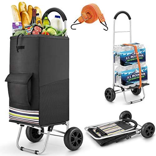 wilbest® Einkaufstrolley, Klappbarer bis 50kg Einkaufswagen Wasserdichter 75L Einkaufstasche Shoppingtrolley mit Spritzplatte Handwagen für Einkaufen oder Transportieren von Waren, 2 Geräuschlos Räder