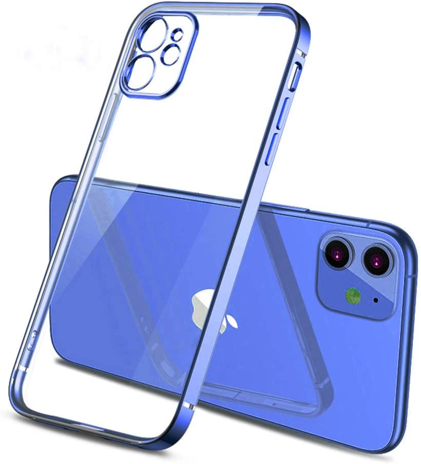Clear Cases for iPhone 11,Square Plating Bumper Crystal Clear Phone Cases for iPhone 11 Case Ultra Thin Soft TPU Phone Back Cover (Blue)