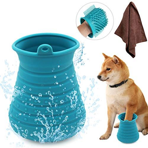 Idepet Pulisci Zampe Cane,Spazzola per Animali Domestici Portatile con Asciugamano Dog Cleaner per Zampe per Cani Gatti Massaggio Toelettatura Artigli Sporchi Blu