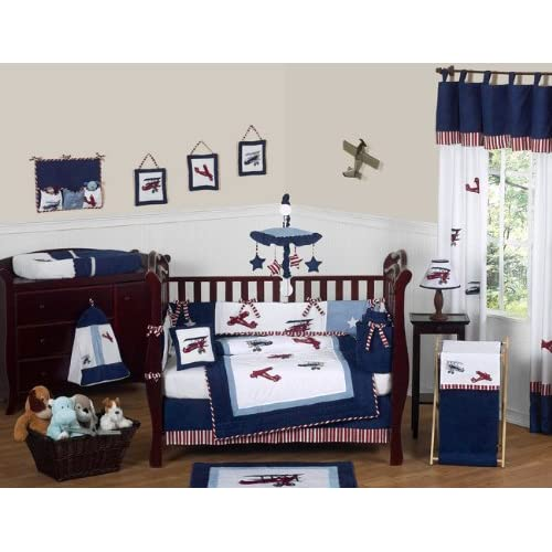 VINTAGE AIRPLANE baby boy nursery art prints for KIDs CHILDREN bedding