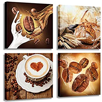 Kitchen Picture Wall Decoration Coffee Wall Decoration Wall Canvas Kitchen Art Restaurant Wall Decoration can Hang 12x12 inches x4 Panels Coffee Painting Canvas Printing Restaurant Wall Decoration