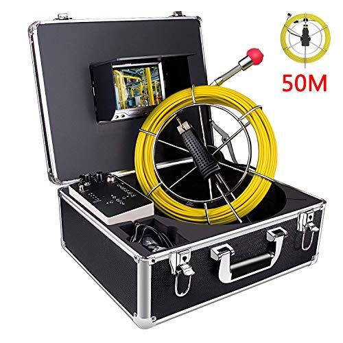 "Inspektionskamera 50m-kabel Profi Rohrkamera kanalkamera mit DVR-Rekorder Industrie Endoskop IP68 Wasserdicht Abwasserkamera mit 7\"" 1080P HD LCD-Monitor Inspektion kamera(8G SD-Karte enthalten)"