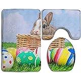 Not applicable Alfombrillas de baño Set de 3 Piezas, Huevos de Conejo de Pascua Felices Imprimir alfombras de baño Antideslizantes + Cubierta de Asiento de Inodoro + tapete de Contorno