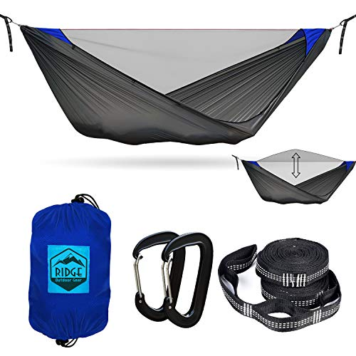 Camping Hammock with Mosquito Net- Pinnacle 180 11 ft Ultralight Hammock Tent with Bug Netting, Straps, Carabiners, Structural Ridgeline, Ripstop Nylon