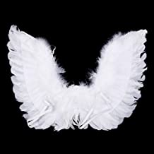 UTENEW Angel Feather Wings for Crafting White Angel Wings Kids Halloween Costume Christmas Plays Party Accessory, 17.7