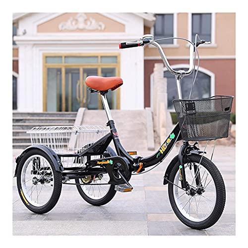 LICHUXIN Mini Triciclo para Adultos 16 Pulgadas con Cesta Velocidad Única 3 Ruedas Bicicleta De Pedales para Personas Mayores Recreación Compras Ejercic (Color : Black, Size : 16 Inch)