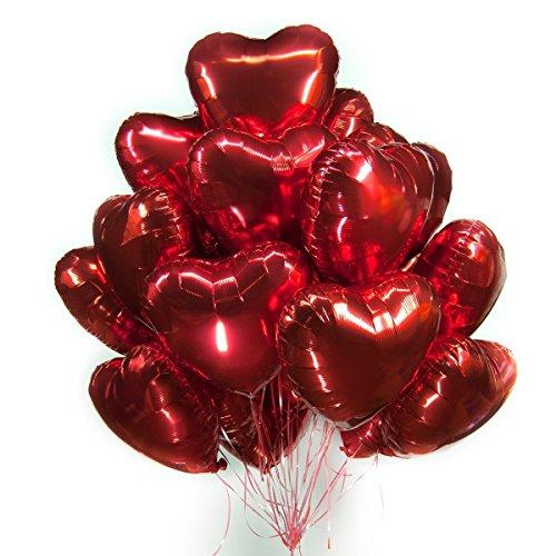 CozofLuv 25 Stück 18 Zoll Rot Herzballons Folienballons Luftballons Herzform Heliumballons Herzluftballons für Geburtstag Valentinstag Hochzeit Verlobung