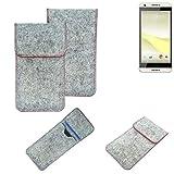 K-S-Trade® Handy Schutz Hülle Für HTC Desire 650 Schutzhülle Handyhülle Filztasche Pouch Tasche Hülle Sleeve Filzhülle Hellgrau Roter Rand