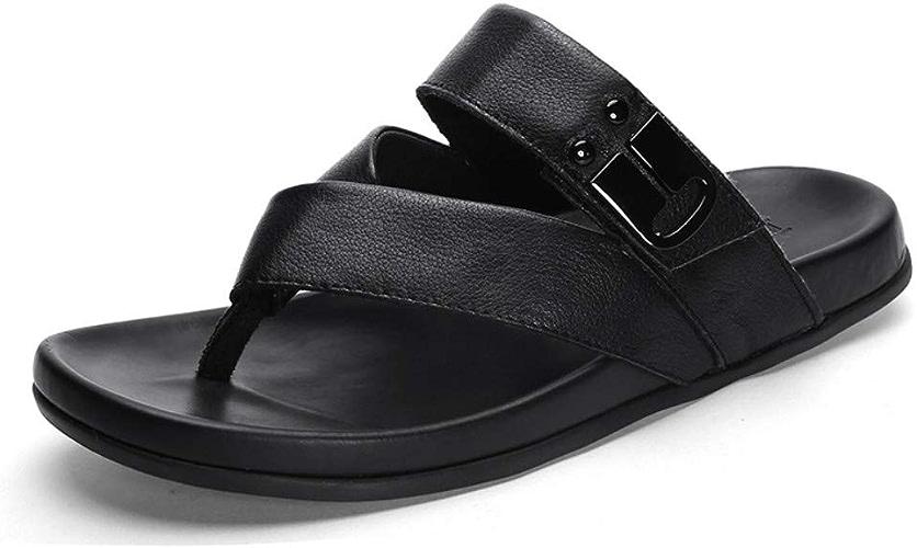 Tongs de Sport en Plein air Sandales Pantoufles Tide Hommes en Cuir d'été Tongs Toe Sandales Hommes en Plein air de Grande Taille Plage Chaussures Hommes