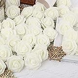 Artificial Rose Flower Heads, INSUNSIX 100pcs Ivory Roses Artificial Flower Foam Rose for DIY Wedding Bouquets Centerpieces Arrangements Party Baby Shower Home Decor (Stemless, Ivory)