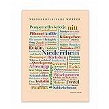 Lienzo, palabras de Baja Renania, Tagcloud con palabras de la Baja Renania. Una original decoración de pared y una hermosa idea de regalo – bastidor 50 x 70 cm