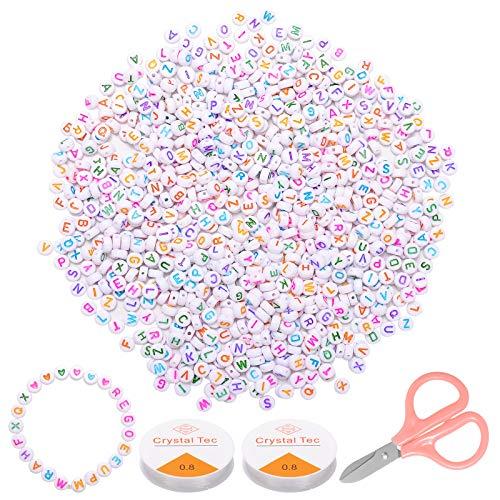 ZITFRI 1200 Pcs Perles Lettre Aléatoire et Coeur - Perles Alphabet Random Perles Rondes pour Bracelets en Acrylique pour DIY Colliers