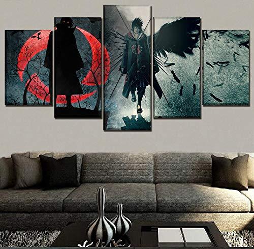 FYZKAY Bilder 5-teilig Leinwandbilder Anime Naruto Itachi Uchiha Bild Moderne Kunstwerk Wand Hause Dekorative Leinwand HD Druckarten Malerei Rahmenlos