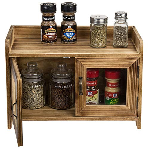 MyGift Rustic Dark Brown Wood Kitchen/Bathroom Counter Top Storage Cabinet with Glass -