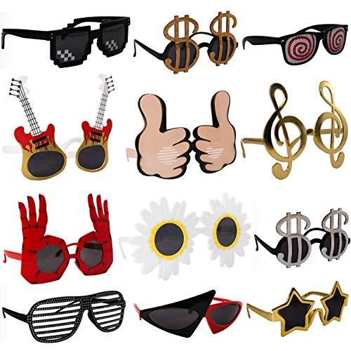 Paquete de 12 gafas de sol divertidas para fiestas y disfraces, gafas de sol Crazy Sunglasses Funky anteojos de sol de los años 80, accesorios para cabina de fotos