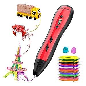 Pluma de Impresión 3D, Meterk Bolígrafo 3D Compatible PLA/ABS con Pantalla LCD, Velocidad y Temperatura Ajustable, 15 Colores Filamento PLA, Adecuado Manualidades para Adulto y Niño