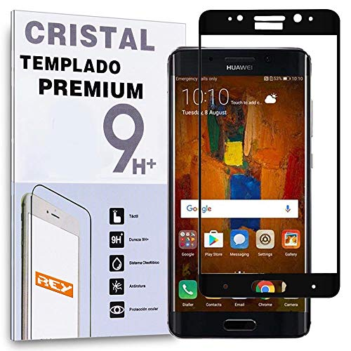 REY Protector de Pantalla Curvo para Huawei Mate 9 Pro, Negro, Cristal Vidrio Templado Premium, 3D / 4D / 5D