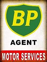 アルミメタルノベルティ危険サインインチ、Bpエージェントモーターサービス、ヴィンテージレトロティンサインホームパブバーデコ壁の装飾レトロアルミメタルサインブリキサイン