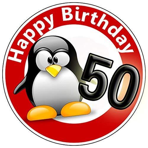 9 Stück Muffinaufleger Muffinfoto Aufleger Foto Bild Geburtstag Happy Birthday Schild 50 Jahre Pinguin rund ca. 6 cm *NEU*OVP*