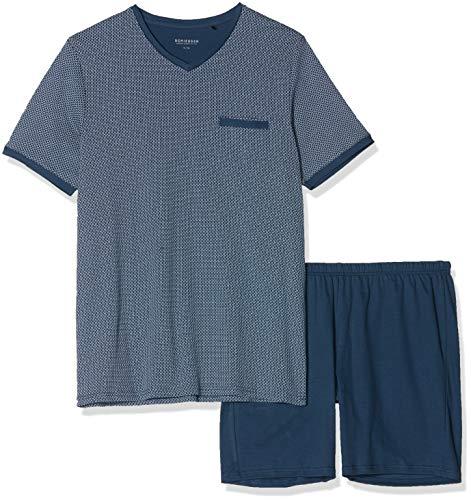 Schiesser Herren Kurz Zweiteiliger Schlafanzug, Blau (Gestreift 803_00), 64